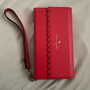 Kate Spade IPhone X leather wristlet wallet/case